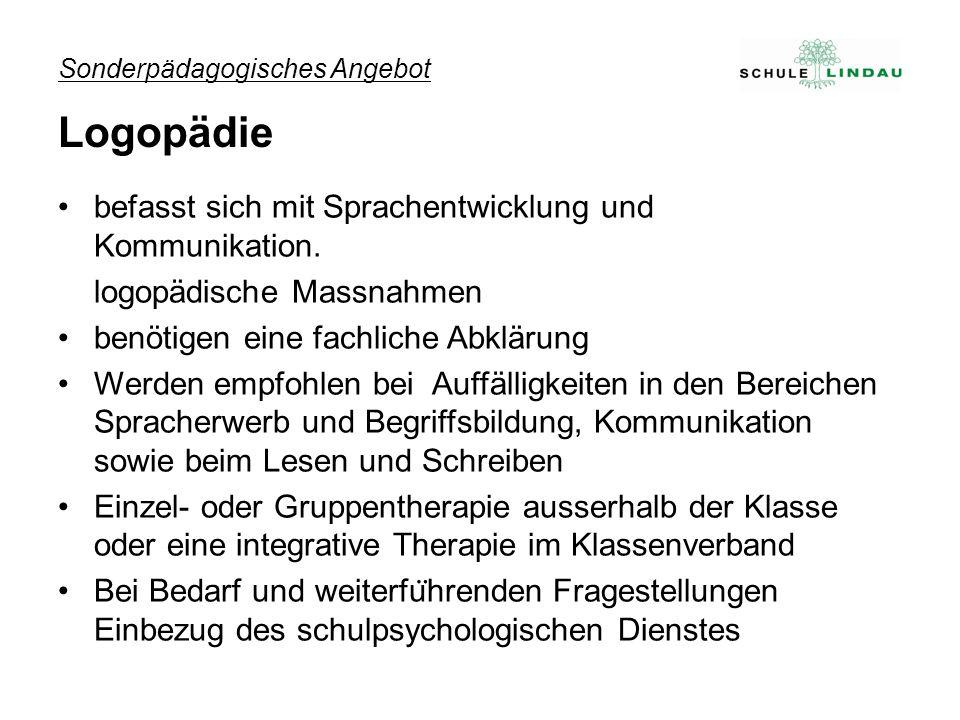 Sonderpädagogisches Angebot Logopädie