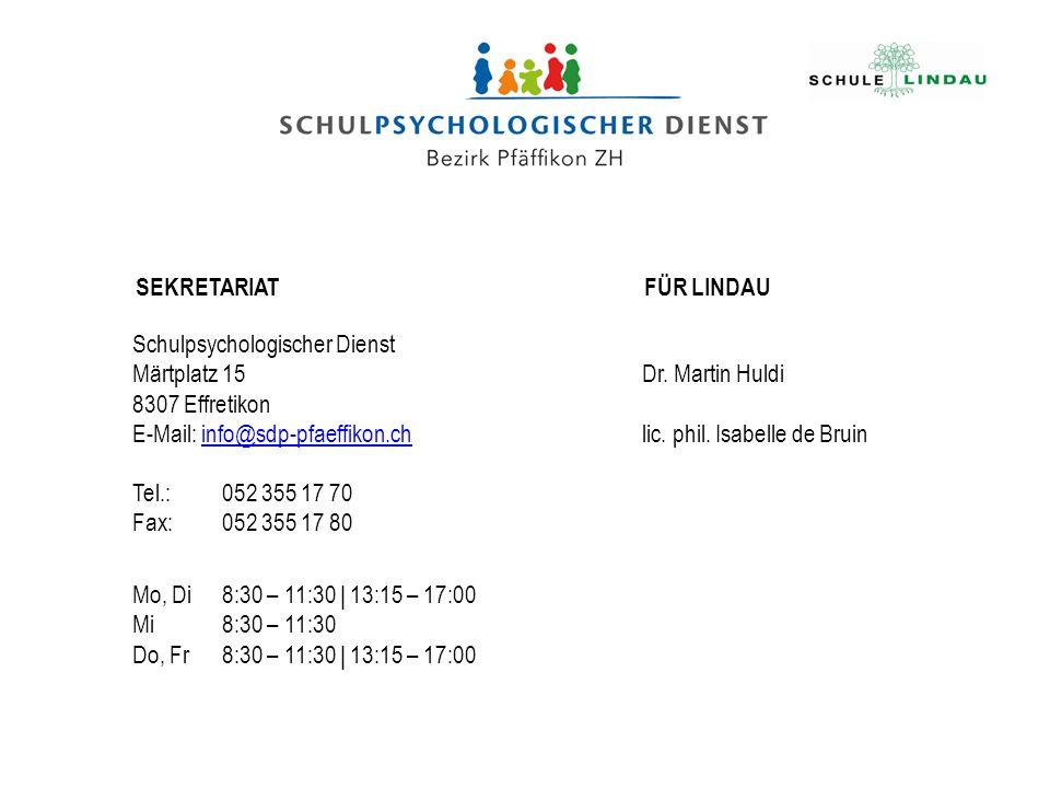 SEKRETARIAT FÜR LINDAU. Schulpsychologischer Dienst. Märtplatz 15. 8307 Effretikon. E-Mail: info@sdp-pfaeffikon.ch.