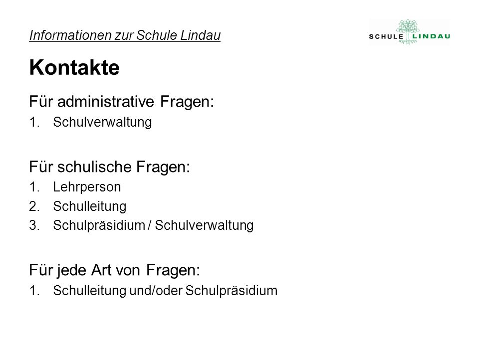 Informationen zur Schule Lindau Kontakte