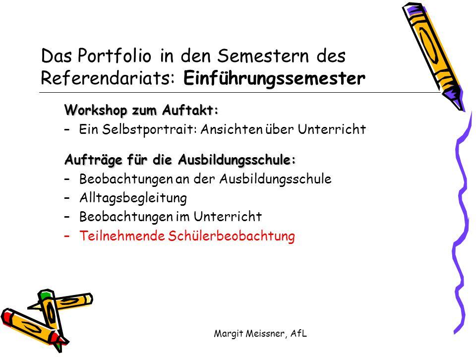 Das Portfolio in den Semestern des Referendariats: Einführungssemester