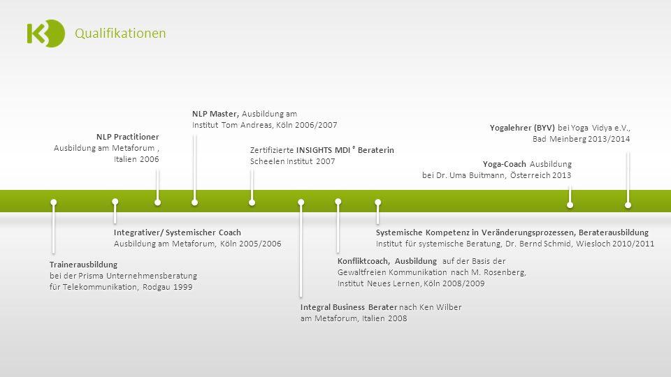 Qualifikationen NLP Master, Ausbildung am Institut Tom Andreas, Köln 2006/2007. Yogalehrer (BYV) bei Yoga Vidya e.V., Bad Meinberg 2013/2014.