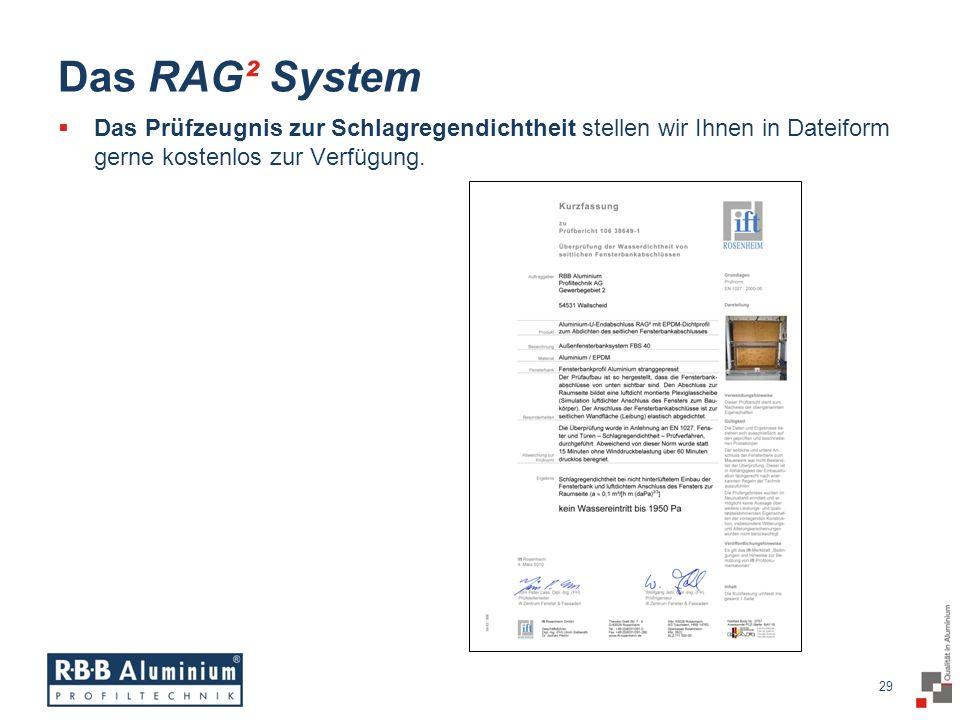 Das RAG² System Das Prüfzeugnis zur Schlagregendichtheit stellen wir Ihnen in Dateiform gerne kostenlos zur Verfügung.