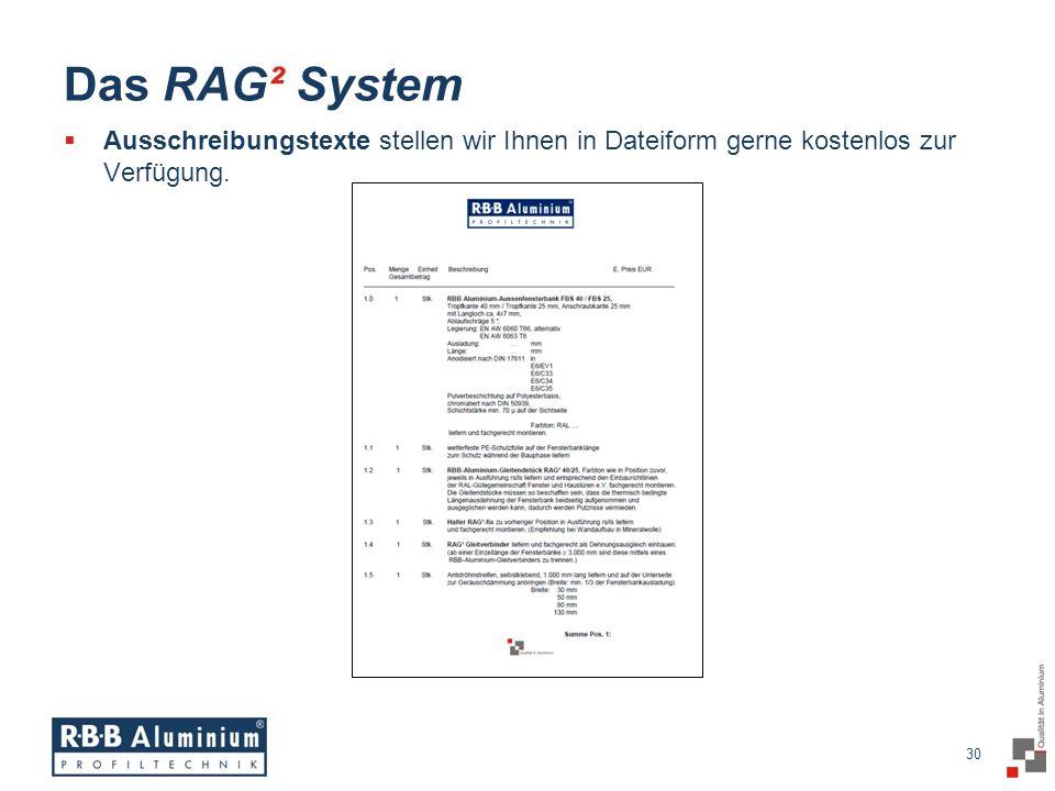 Das RAG² System Ausschreibungstexte stellen wir Ihnen in Dateiform gerne kostenlos zur Verfügung.
