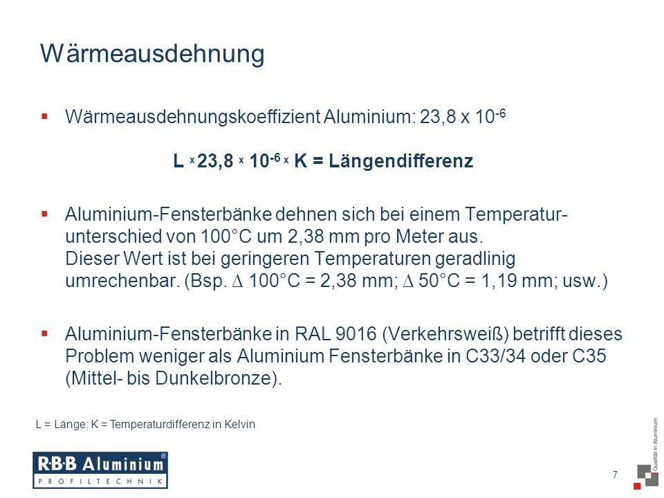 Wärmeausdehnung Wärmeausdehnungskoeffizient Aluminium: 23,8 x 10-6 L x 23,8 x 10-6 x K = Längendifferenz.