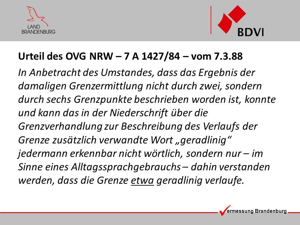 Urteil des OVG NRW – 7 A 1427/84 – vom 7.3.88