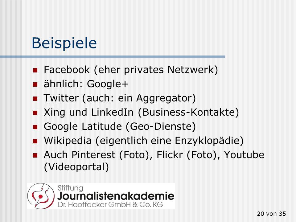 Beispiele Facebook (eher privates Netzwerk) ähnlich: Google+