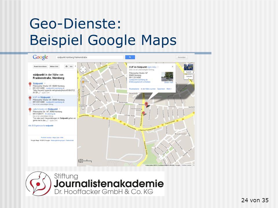 Geo-Dienste: Beispiel Google Maps