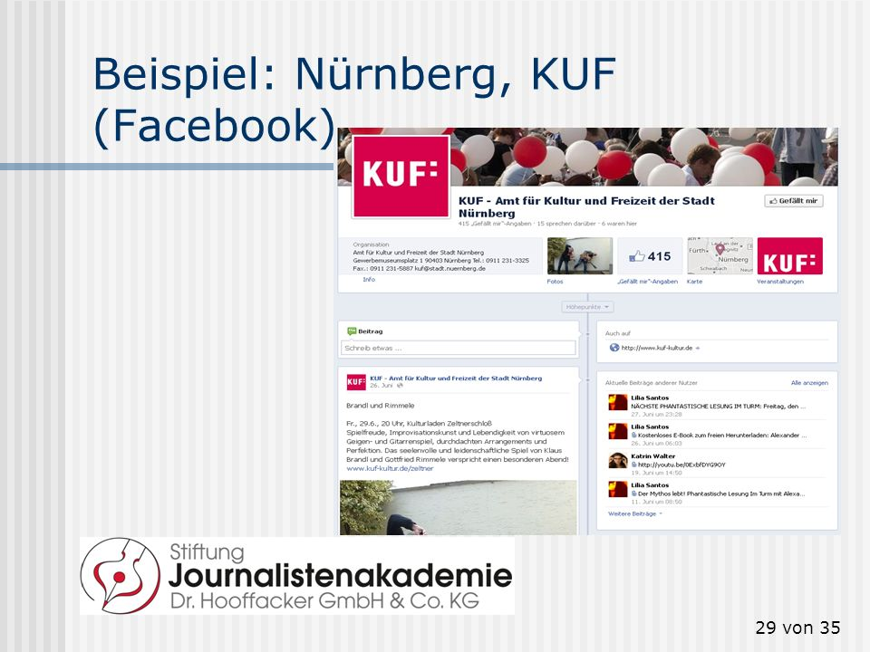 Beispiel: Nürnberg, KUF (Facebook)