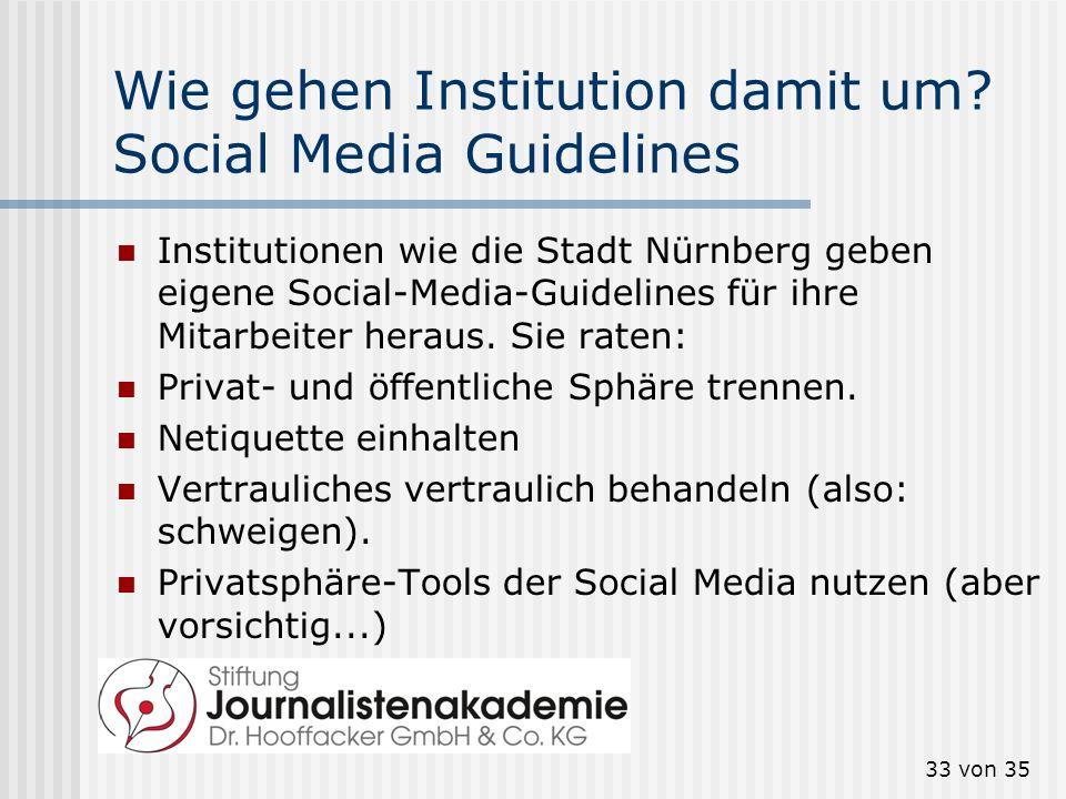 Wie gehen Institution damit um Social Media Guidelines