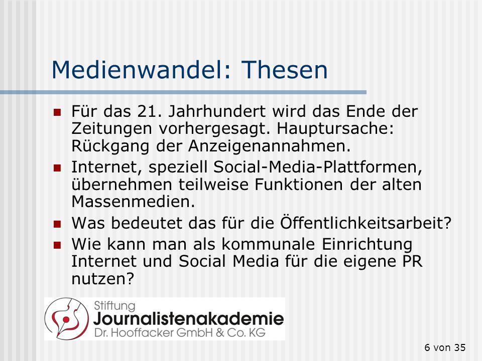 Medienwandel: Thesen Für das 21. Jahrhundert wird das Ende der Zeitungen vorhergesagt. Hauptursache: Rückgang der Anzeigenannahmen.