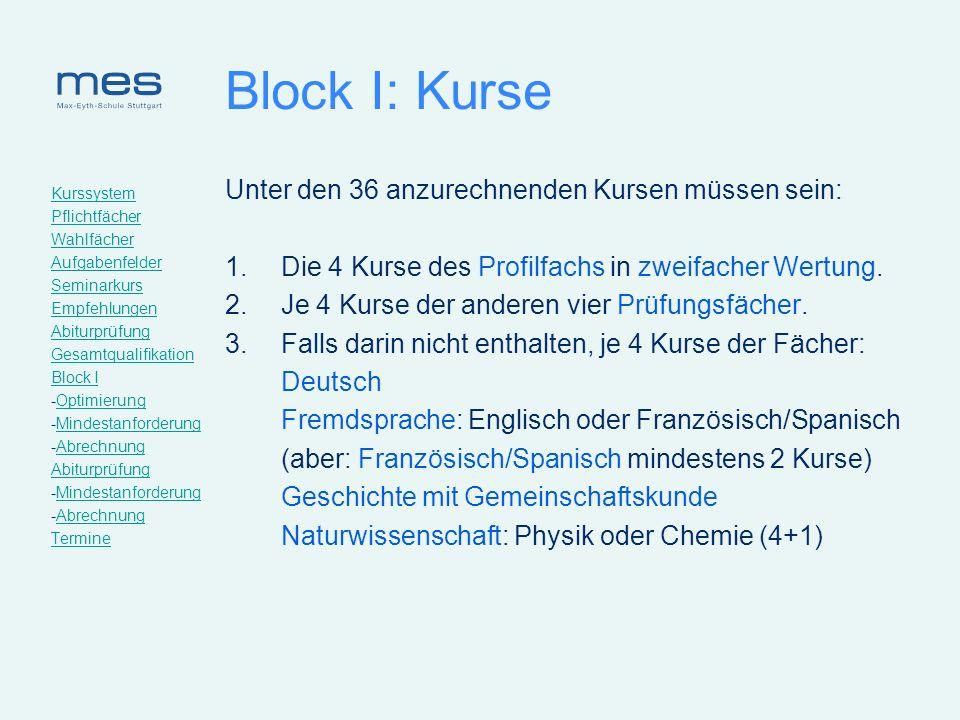 Block I: Kurse Unter den 36 anzurechnenden Kursen müssen sein: