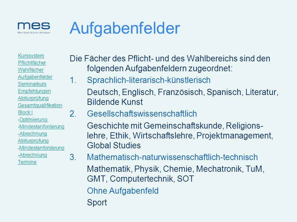 Kurssystem Pflichtfächer. Wahlfächer. Aufgabenfelder. Seminarkurs. Empfehlungen. Abiturprüfung.