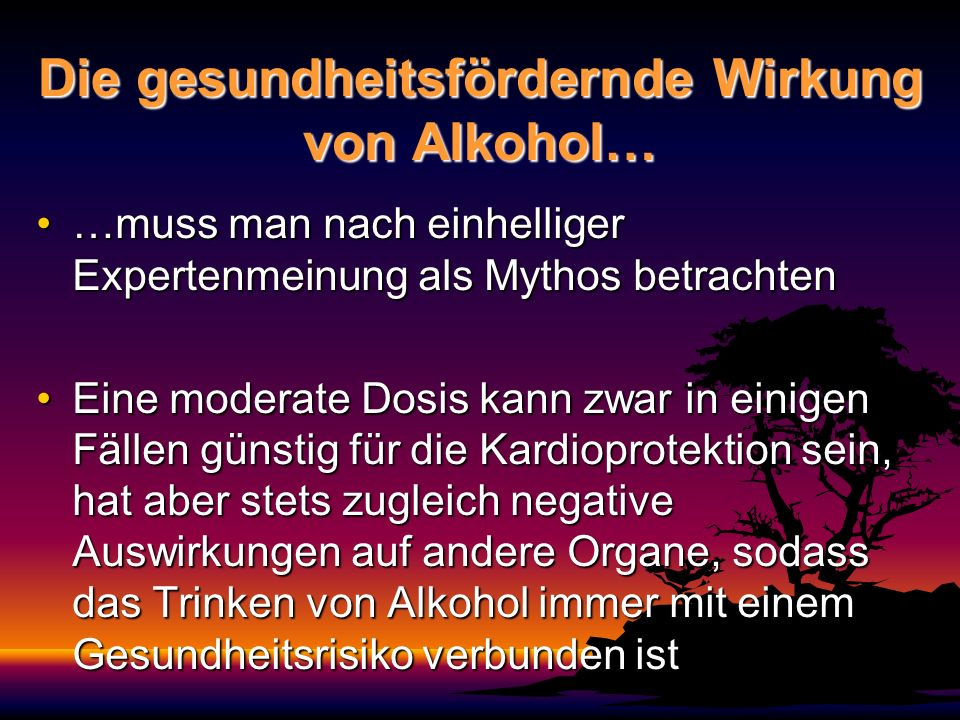 Die gesundheitsfördernde Wirkung von Alkohol…