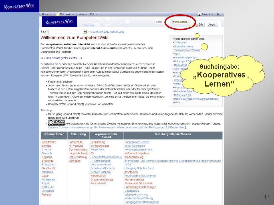 """Sucheingabe: """"Kooperatives Lernen"""