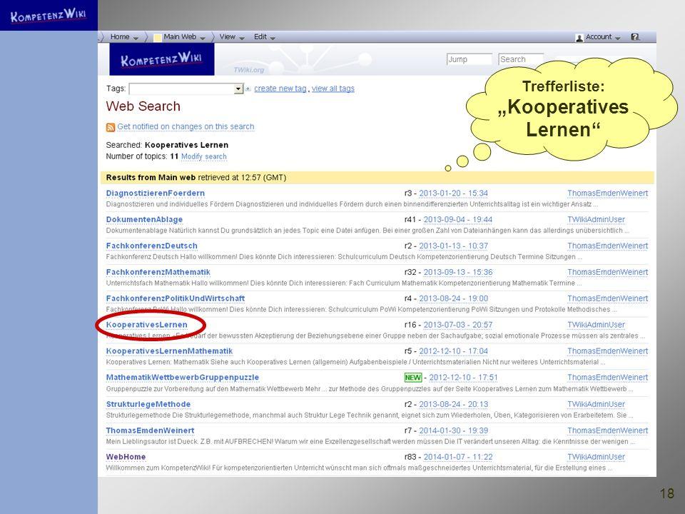 "Trefferliste: ""Kooperatives Lernen"