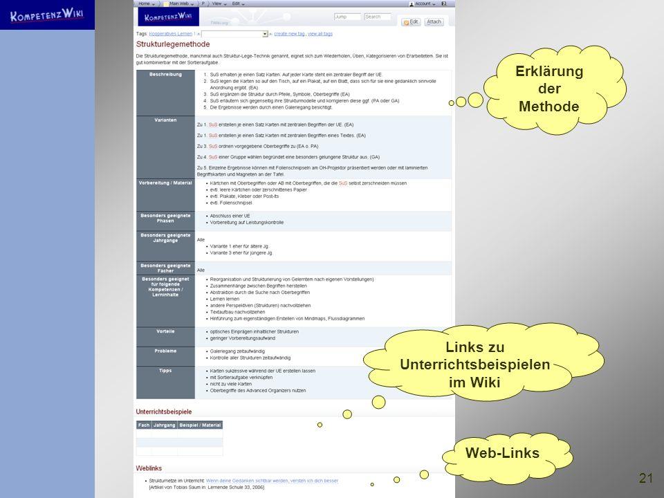 Links zu Unterrichtsbeispielen im Wiki