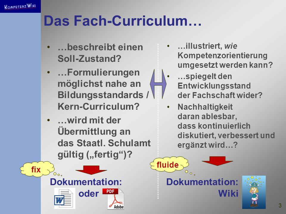 Das Fach-Curriculum… …beschreibt einen Soll-Zustand