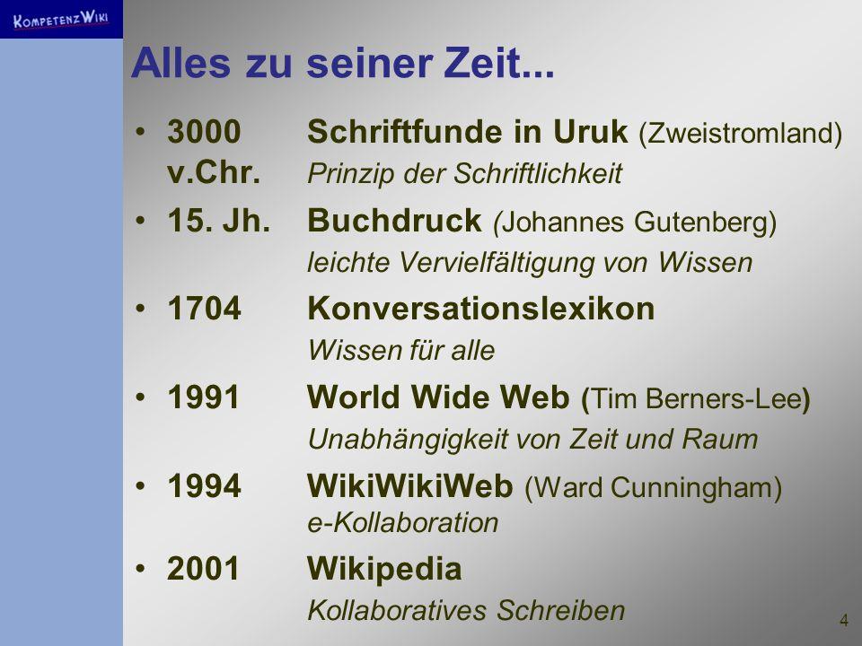30.03.2017 Alles zu seiner Zeit... 3000 Schriftfunde in Uruk (Zweistromland) v.Chr. Prinzip der Schriftlichkeit.
