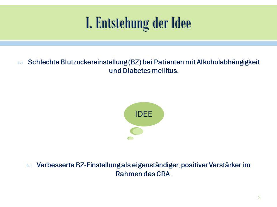 I. Entstehung der Idee Schlechte Blutzuckereinstellung (BZ) bei Patienten mit Alkoholabhängigkeit und Diabetes mellitus.