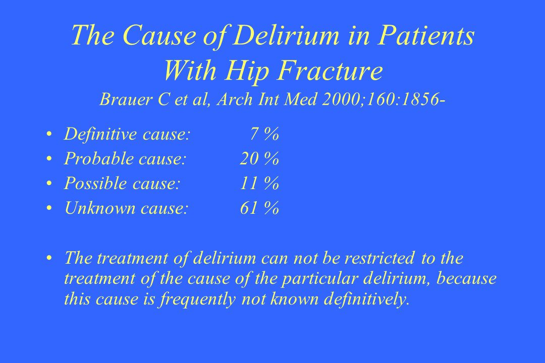 The Cause of Delirium in Patients With Hip Fracture Brauer C et al, Arch Int Med 2000;160:1856-