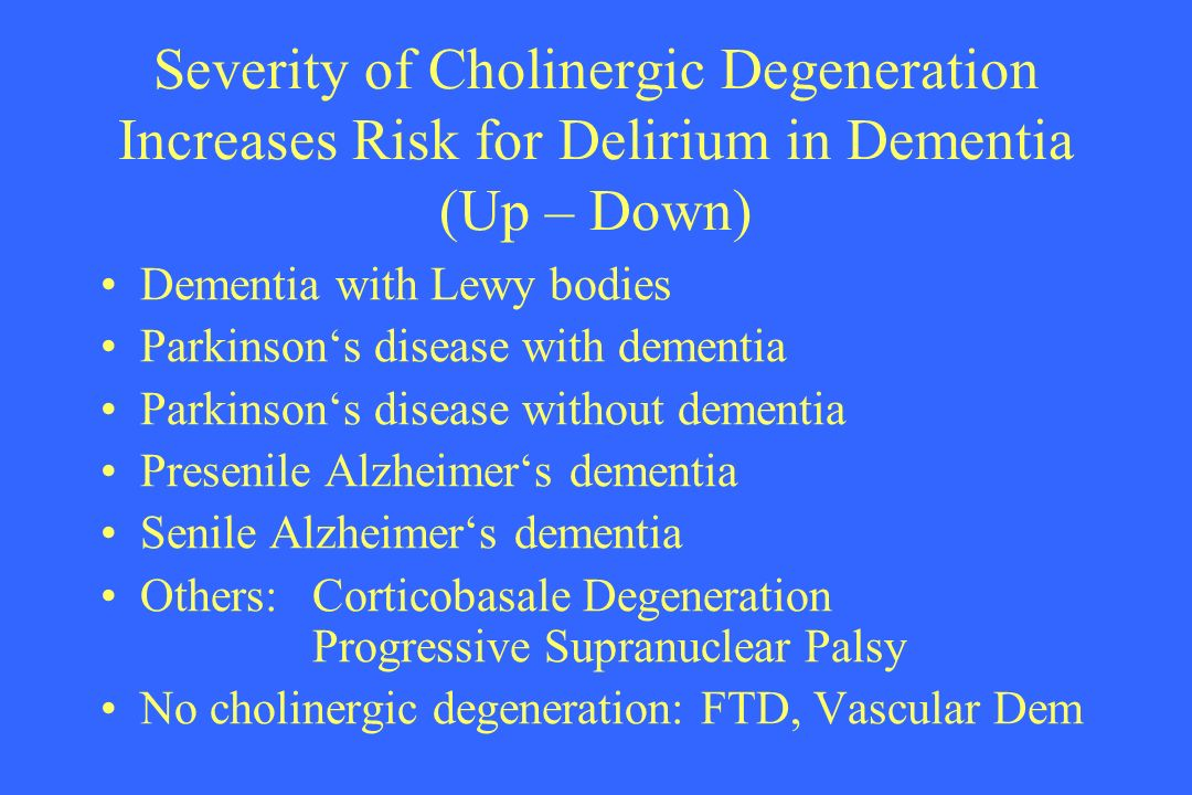 Severity of Cholinergic Degeneration Increases Risk for Delirium in Dementia (Up – Down)