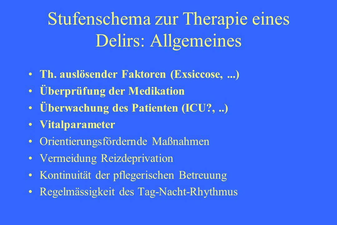 Stufenschema zur Therapie eines Delirs: Allgemeines