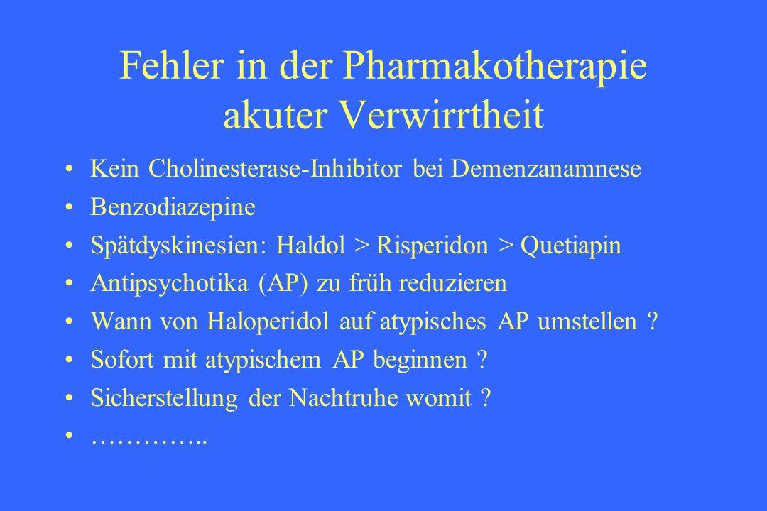 Fehler in der Pharmakotherapie akuter Verwirrtheit