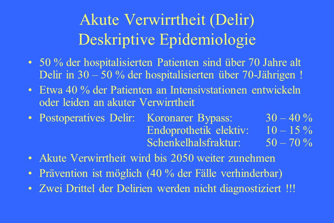 Akute Verwirrtheit (Delir) Deskriptive Epidemiologie