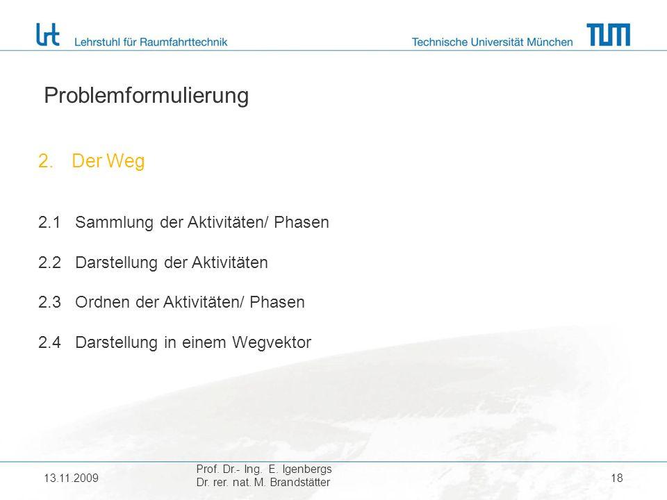 Problemformulierung Der Weg 2.1 Sammlung der Aktivitäten/ Phasen