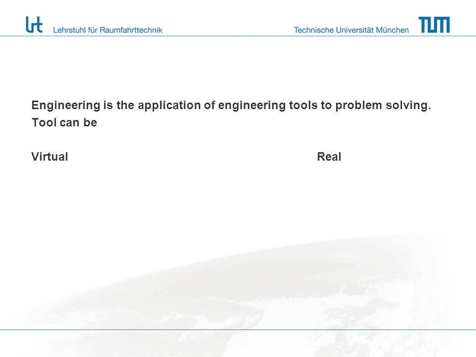 Engineering is the application of engineering tools to problem solving.
