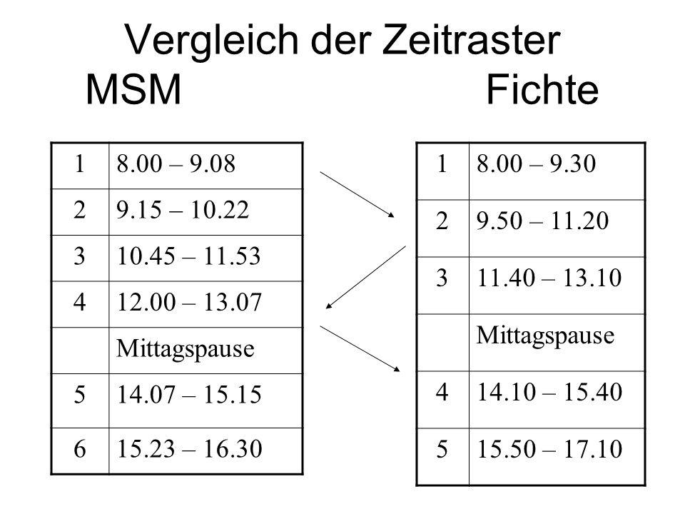 Vergleich der Zeitraster MSM Fichte