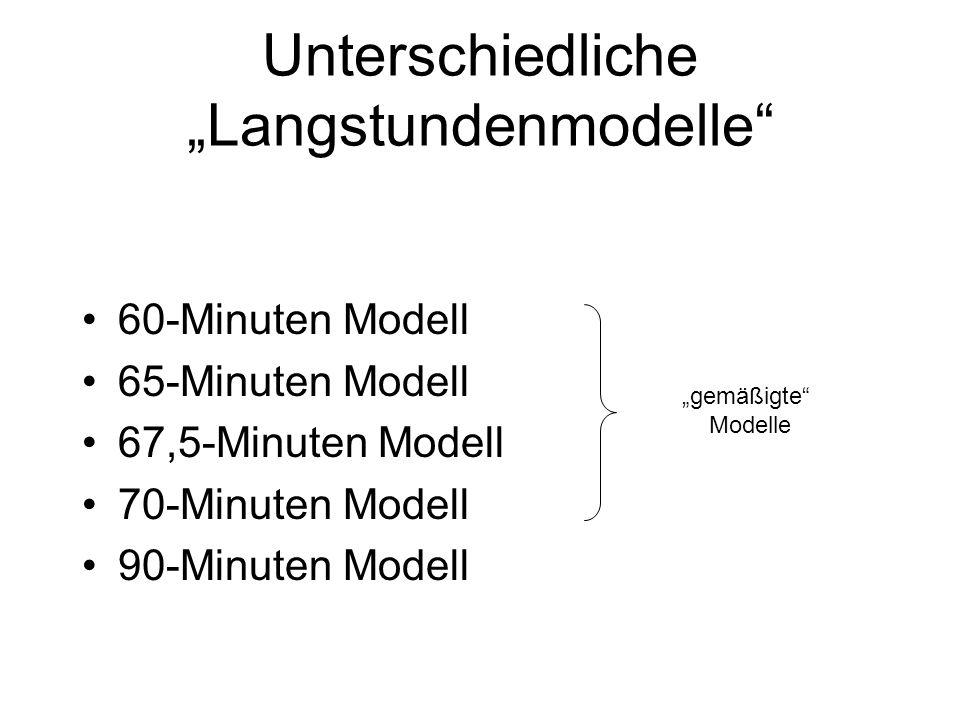 """Unterschiedliche """"Langstundenmodelle"""