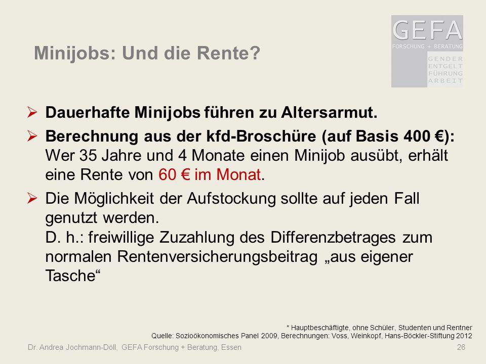 Minijobs: Und die Rente