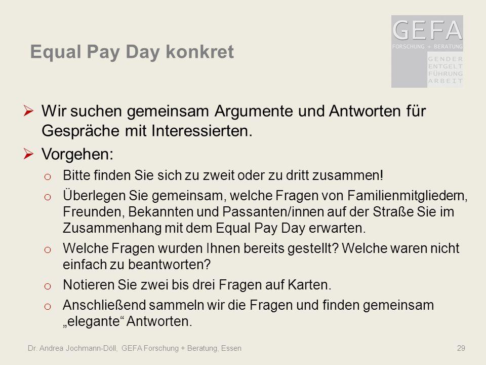 Equal Pay Day konkret Wir suchen gemeinsam Argumente und Antworten für Gespräche mit Interessierten.