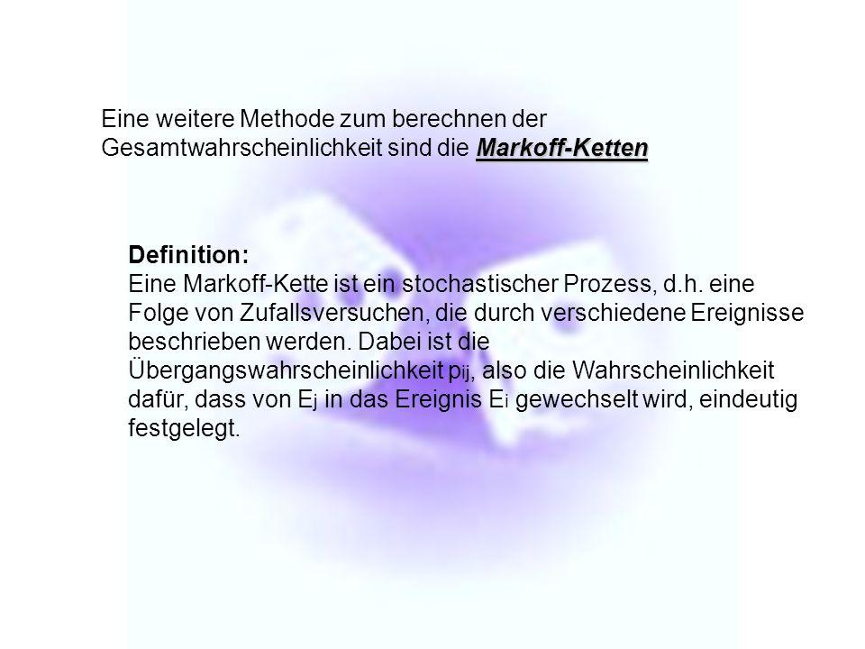 Eine weitere Methode zum berechnen der Gesamtwahrscheinlichkeit sind die Markoff-Ketten
