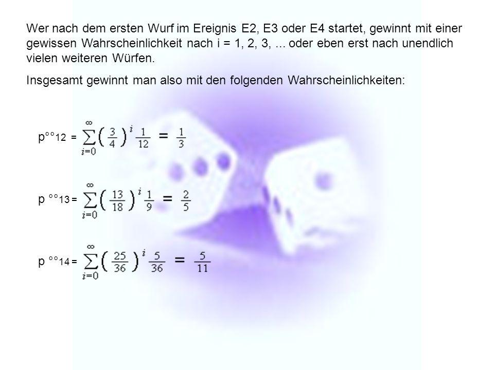 Wer nach dem ersten Wurf im Ereignis E2, E3 oder E4 startet, gewinnt mit einer gewissen Wahrscheinlichkeit nach i = 1, 2, 3, ... oder eben erst nach unendlich vielen weiteren Würfen.