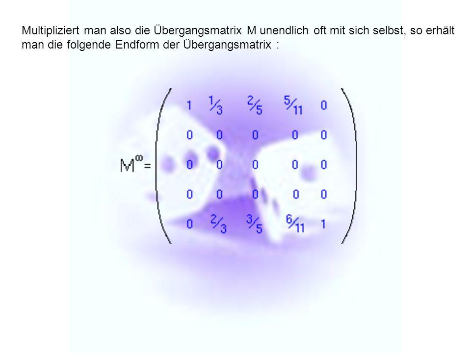 Multipliziert man also die Übergangsmatrix M unendlich oft mit sich selbst, so erhält man die folgende Endform der Übergangsmatrix :