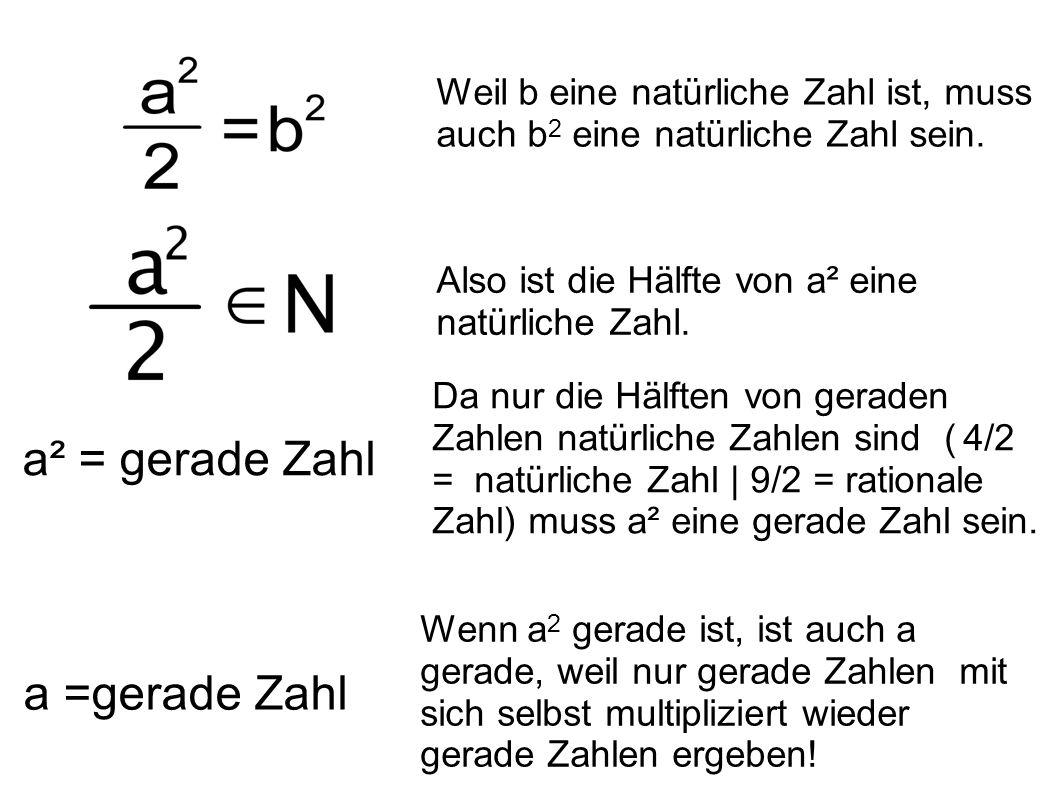 a² = gerade Zahl a =gerade Zahl