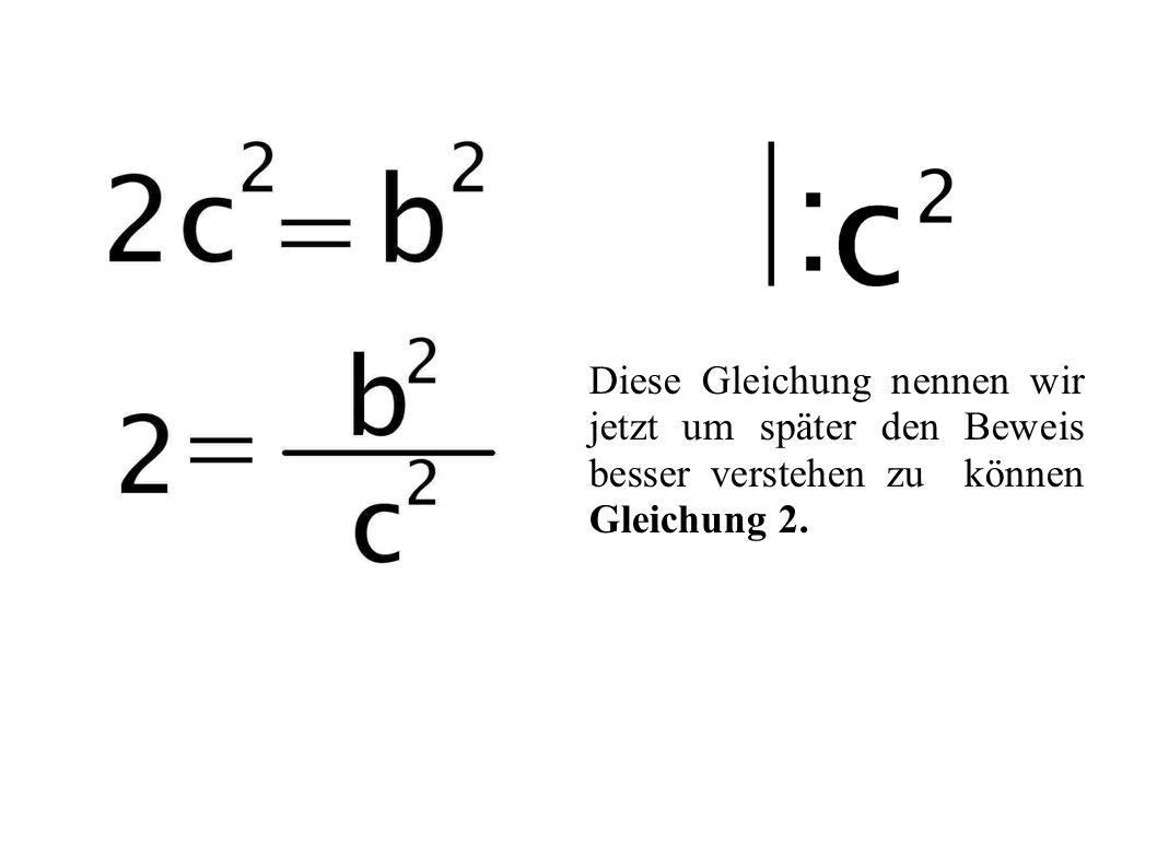 Diese Gleichung nennen wir jetzt um später den Beweis besser verstehen zu können Gleichung 2.