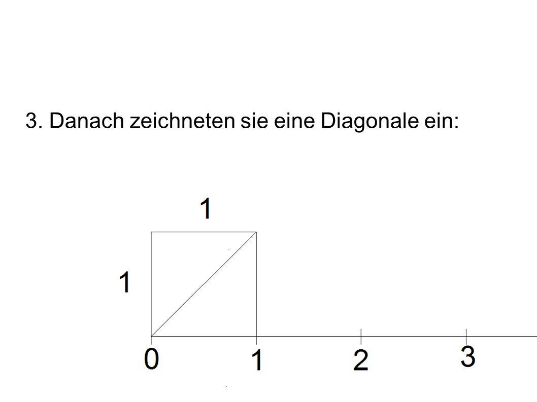 3. Danach zeichneten sie eine Diagonale ein: