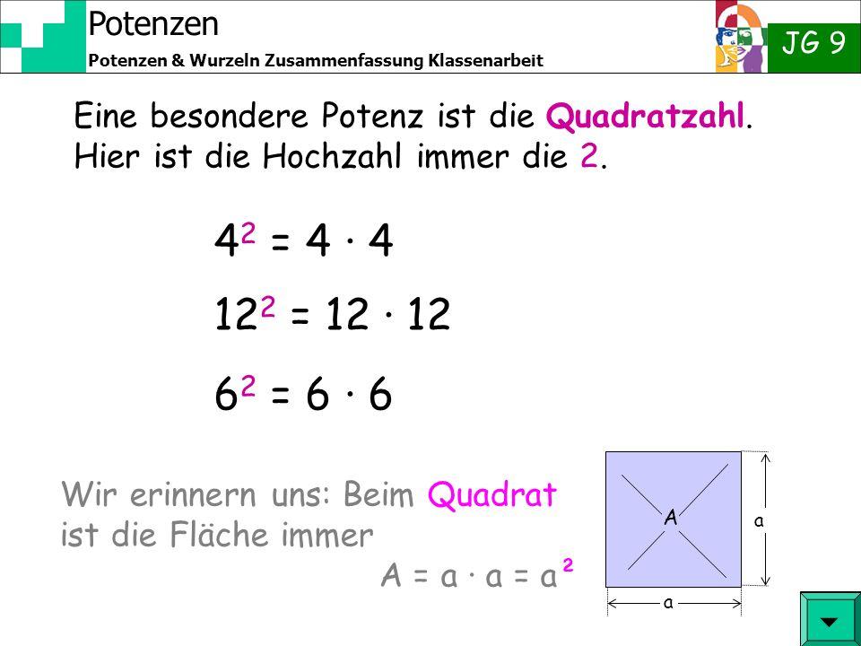 Eine besondere Potenz ist die Quadratzahl
