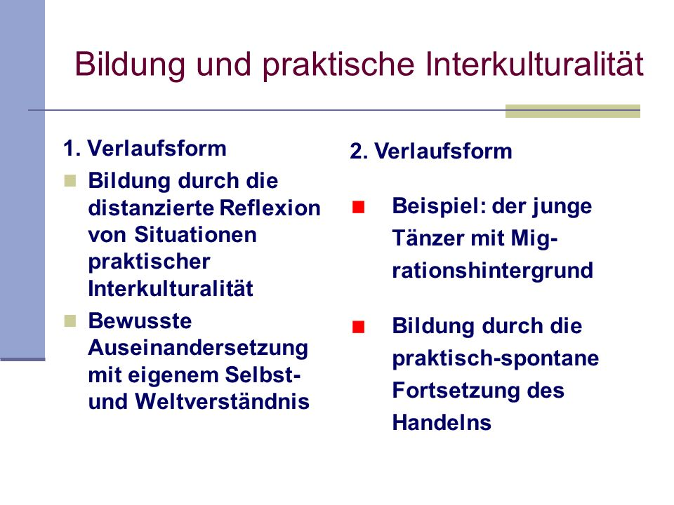 Bildung und praktische Interkulturalität