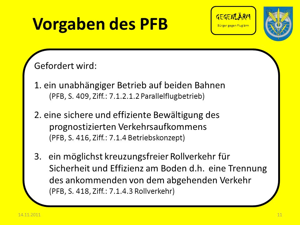 Vorgaben des PFB Gefordert wird: