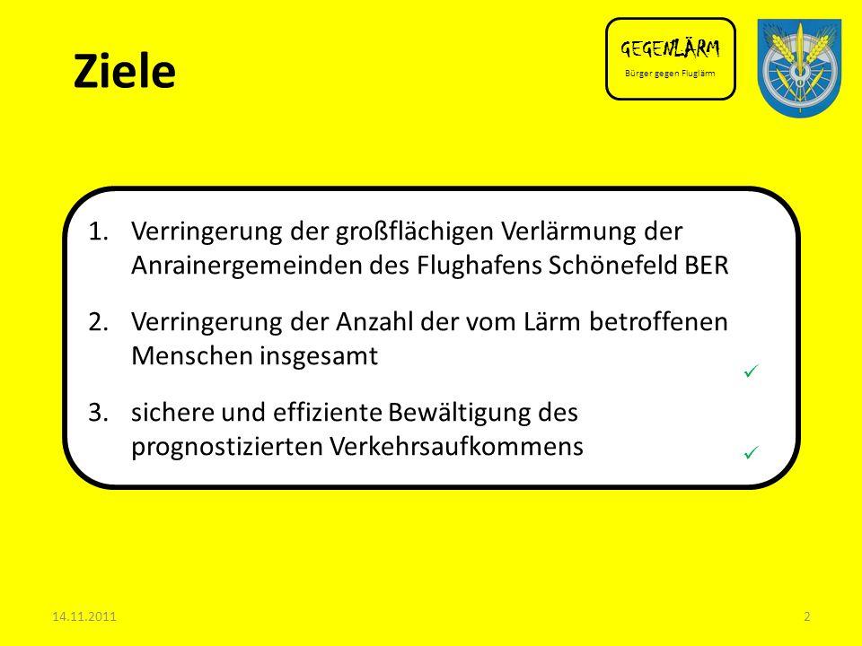 GEGENLÄRM Bürger gegen Fluglärm. Ziele. Verringerung der großflächigen Verlärmung der Anrainergemeinden des Flughafens Schönefeld BER.