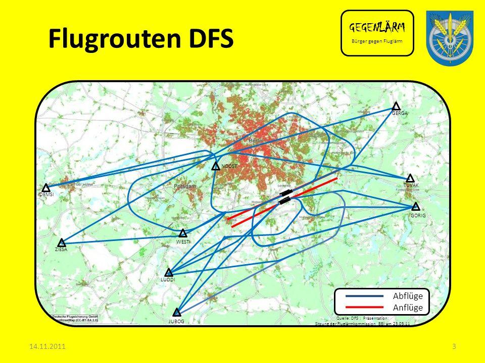 Flugrouten DFS GEGENLÄRM Abflüge Anflüge 14.11.2011