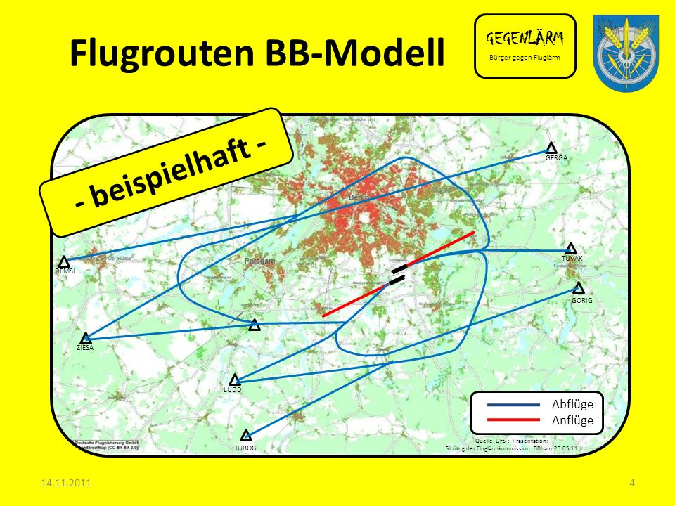 Flugrouten BB-Modell - beispielhaft - GEGENLÄRM Abflüge Anflüge