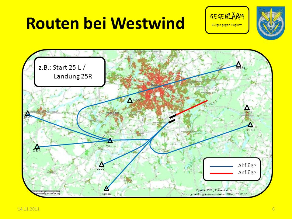 Routen bei Westwind GEGENLÄRM z.B.: Start 25 L / Landung 25R Abflüge
