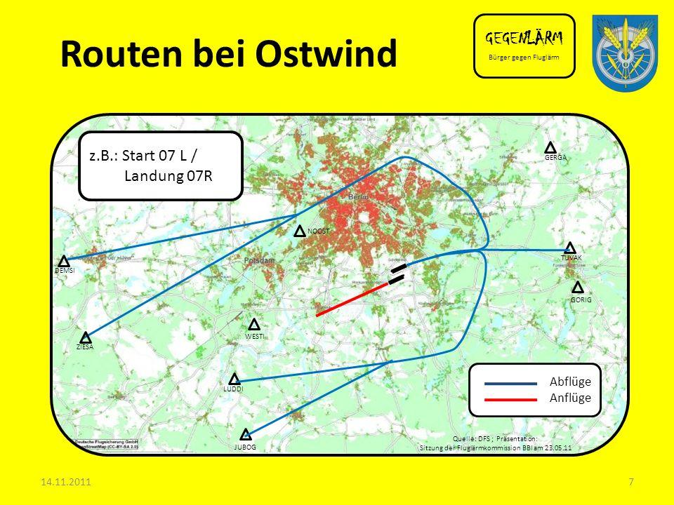Routen bei Ostwind GEGENLÄRM z.B.: Start 07 L / Landung 07R Abflüge