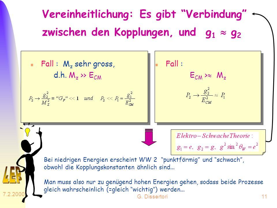 Vereinheitlichung: Es gibt Verbindung zwischen den Kopplungen, und g1  g2