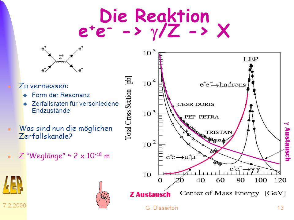Die Reaktion e+e- -> g/Z -> X